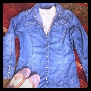 Eddie Bauer denim button down blouse/shirt/jacket